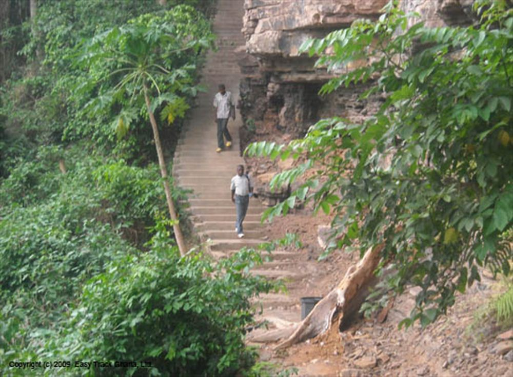 Stairs to Akaa Falls