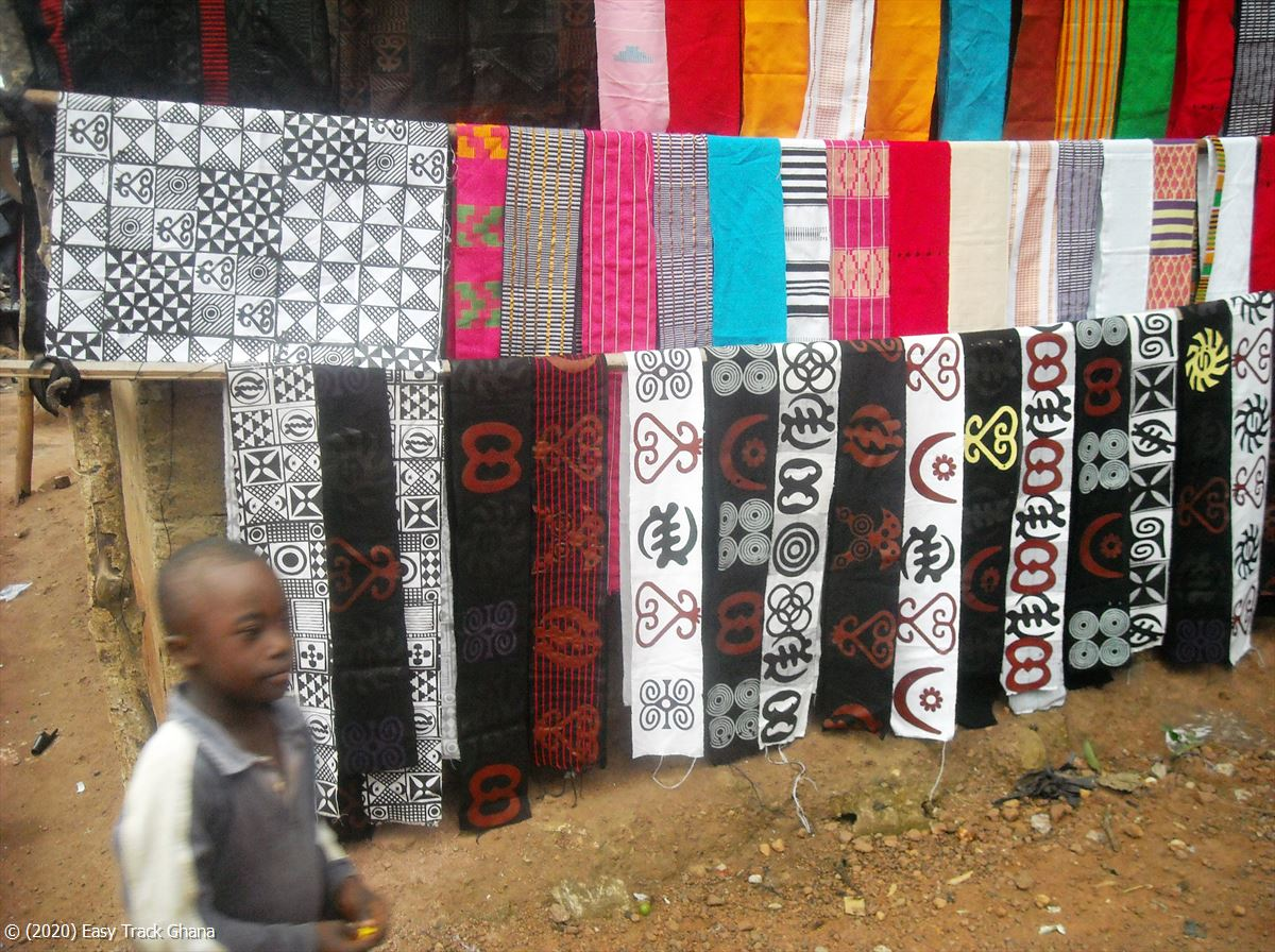 African cloth for sale at the Trade Fair Centre in Accra, Ghana
