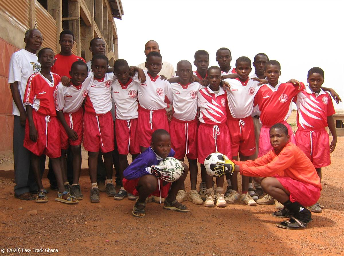 Gift of football equipment to a local school in Ghana
