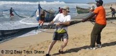 Pulling the fishing nets in Ghana
