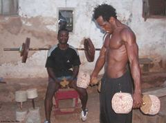 Home made gyms are common in Ghana