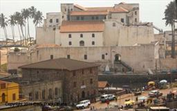 Elmina castle with Bridge House hotel in foreground