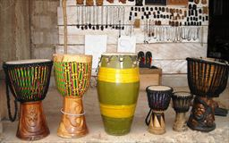 Djembe drums created by Maker Stone of Easy Track Ghana
