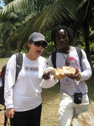 Guest enjoying coconut with Maker Stone