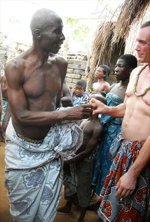 West African handshake is the traditional greeting in Ghana