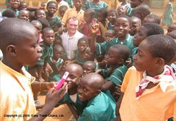 Donating at a school in Ghana