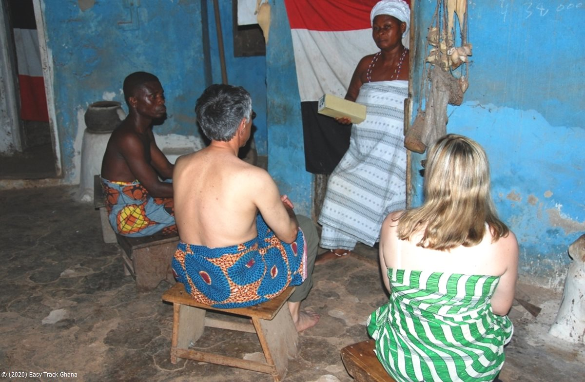 Guests receiving a traditional blessing in Ghana