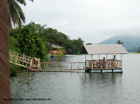 River resort on the Volta River at Atimpoku in Ghana